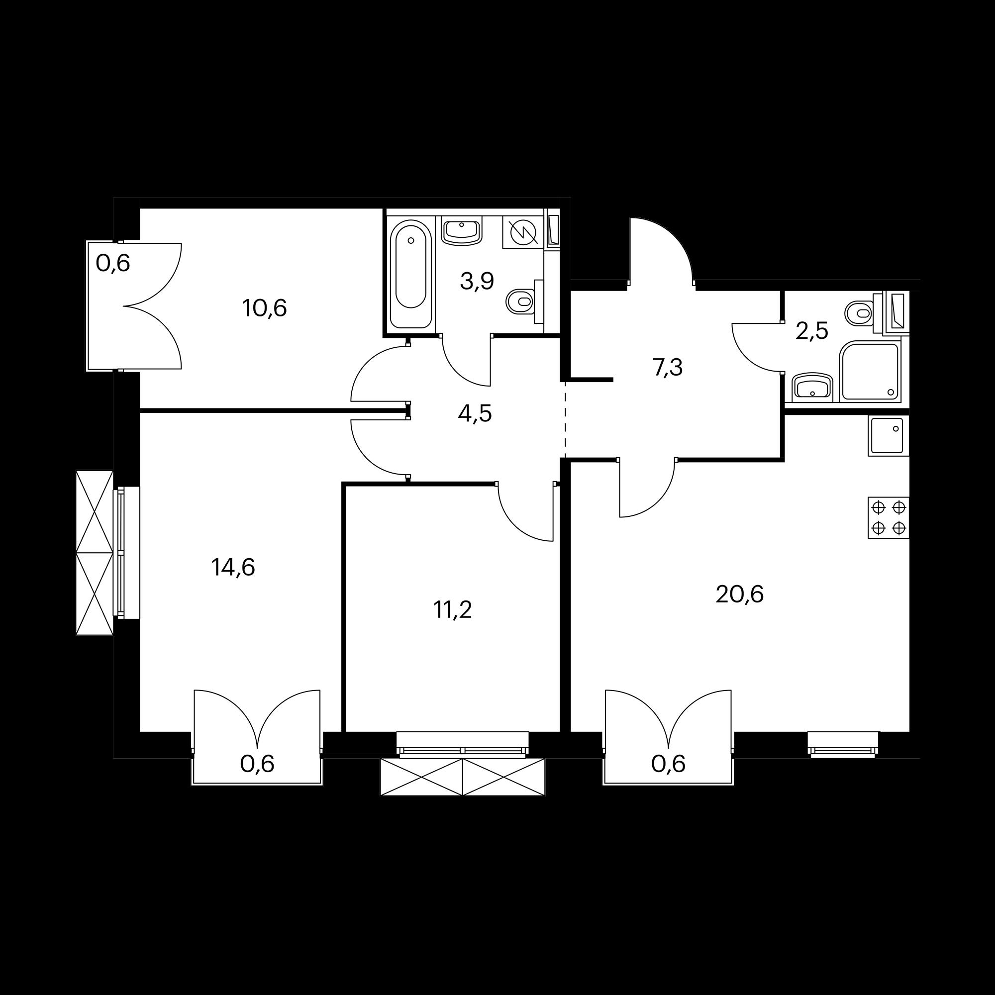 3-комнатная 75.8 м²