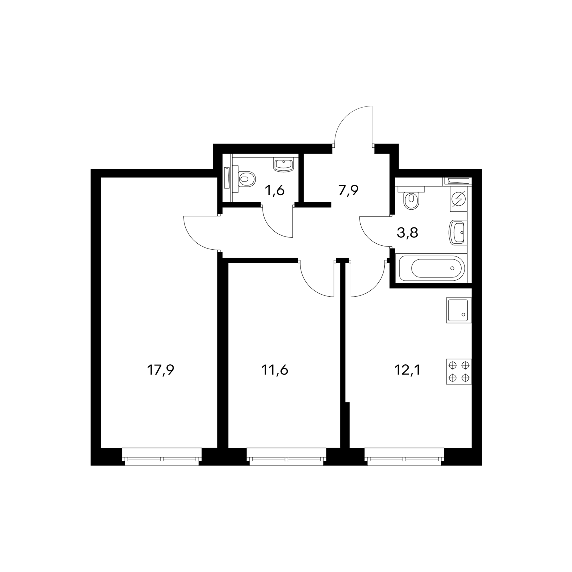 2-комнатная 54.9 м²