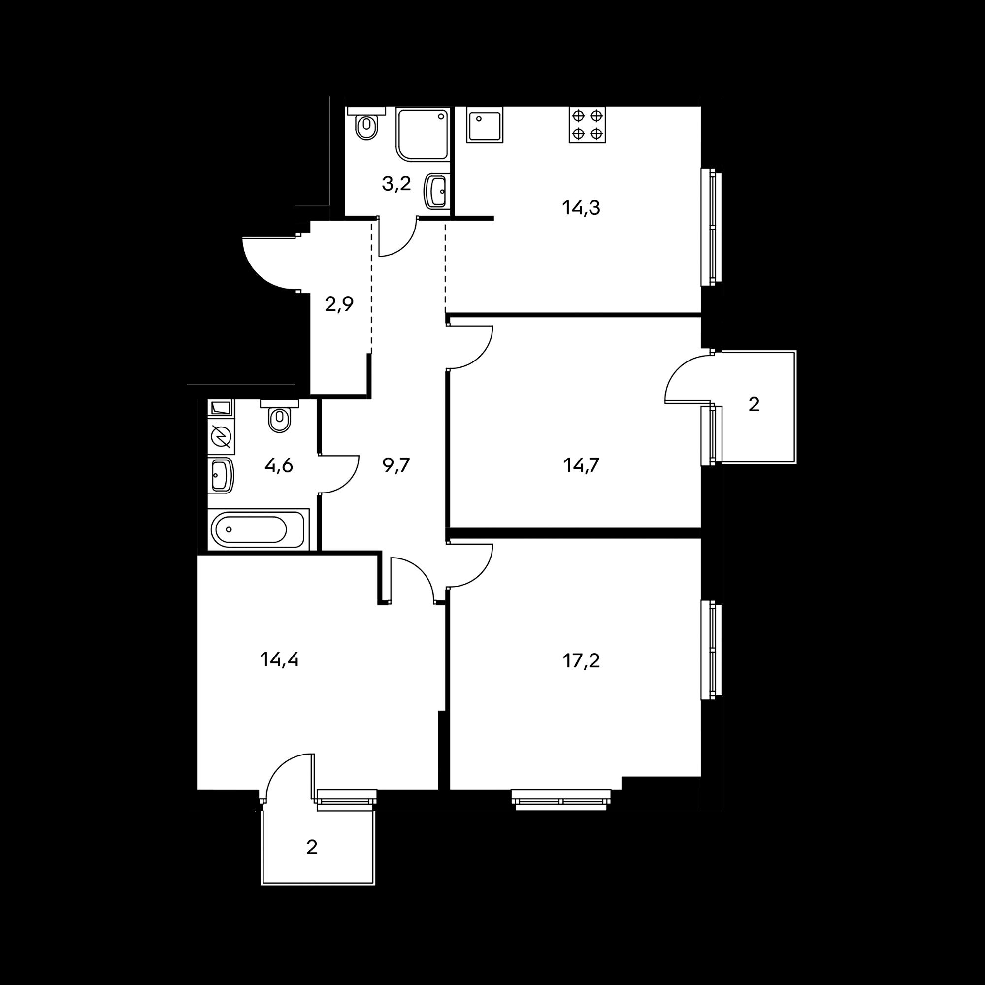 3-комнатная 82.7 м²
