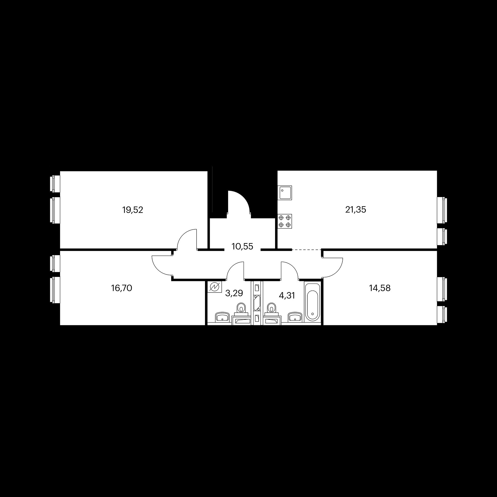 3-комнатная 90.29 м²