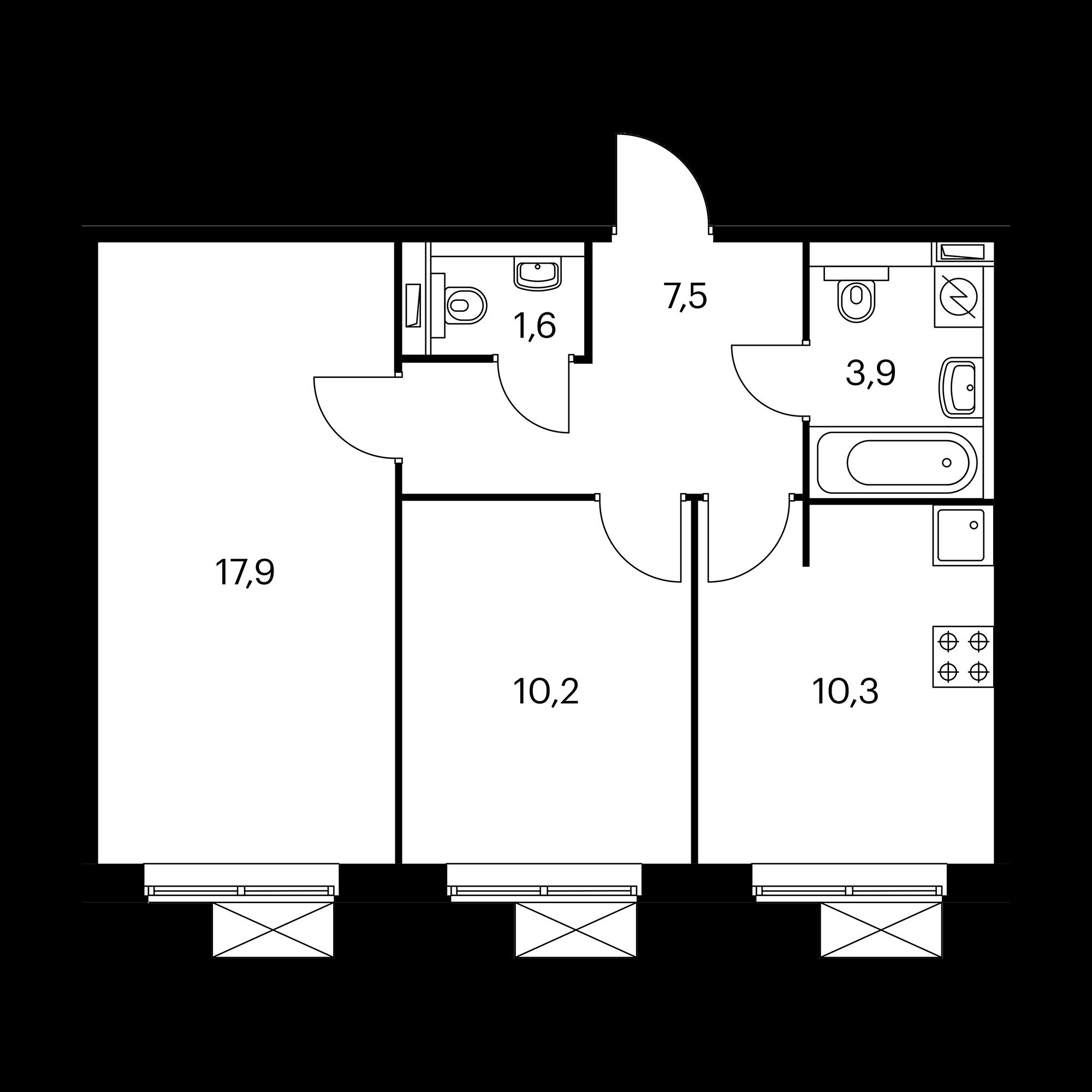 2-комнатная 51.4 м²