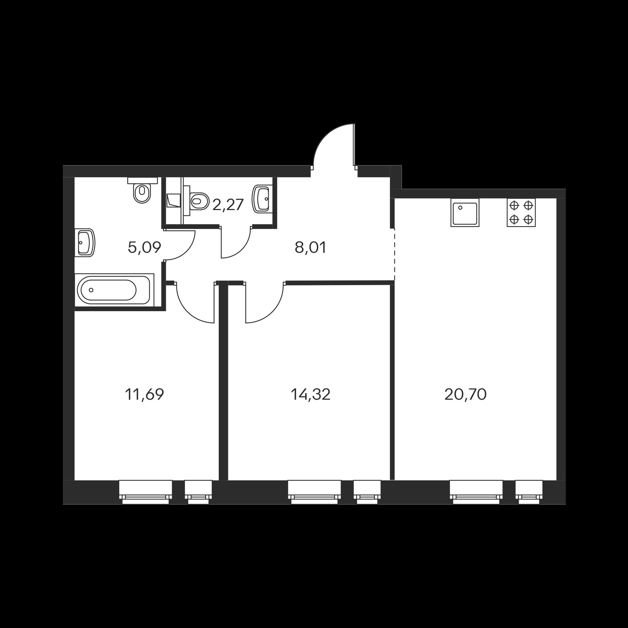 2-комнатная 62.08  м²