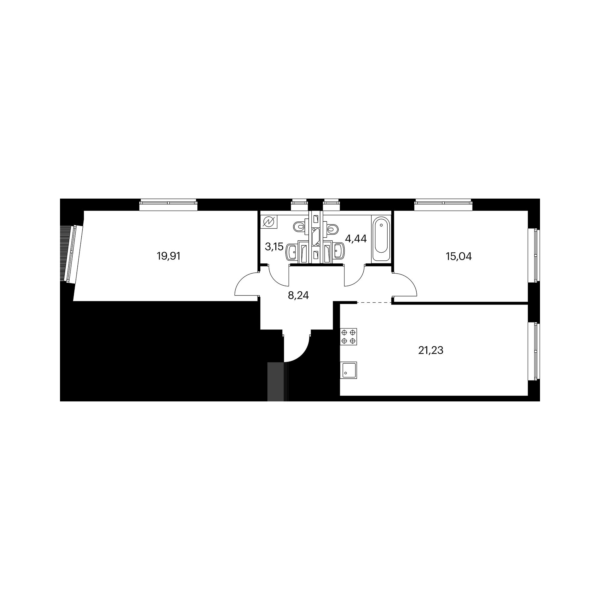 2-комнатная 72.01  м²
