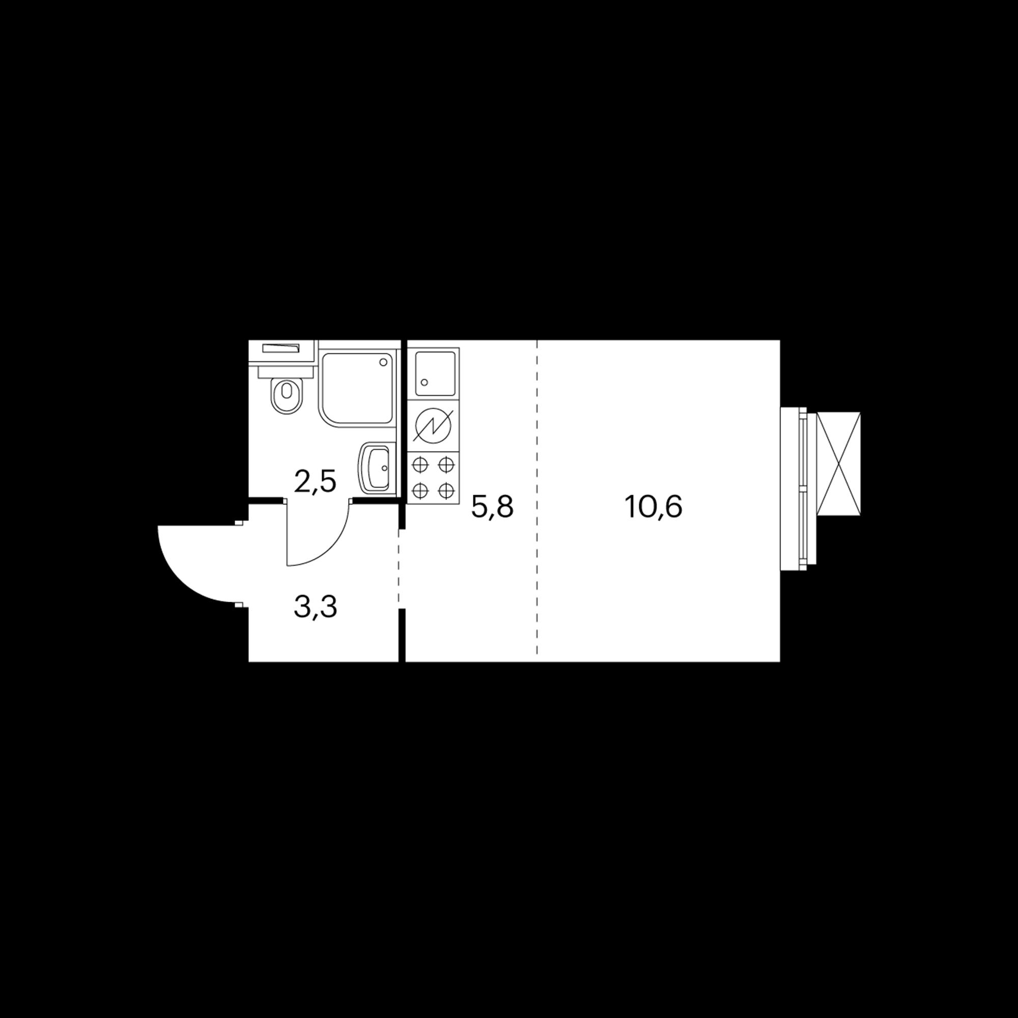 Студия 21.9  м²