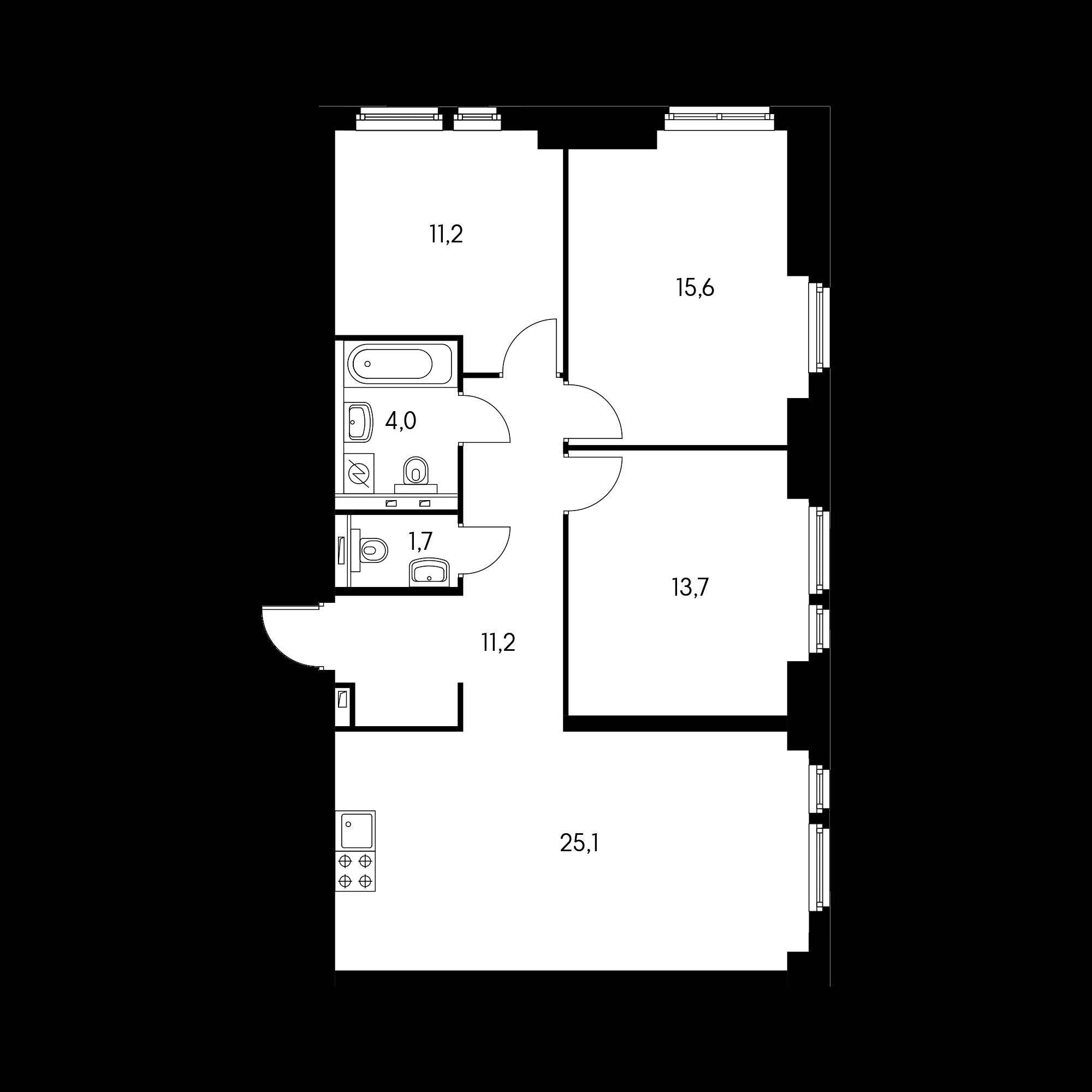 3-комнатная 82.4 м²