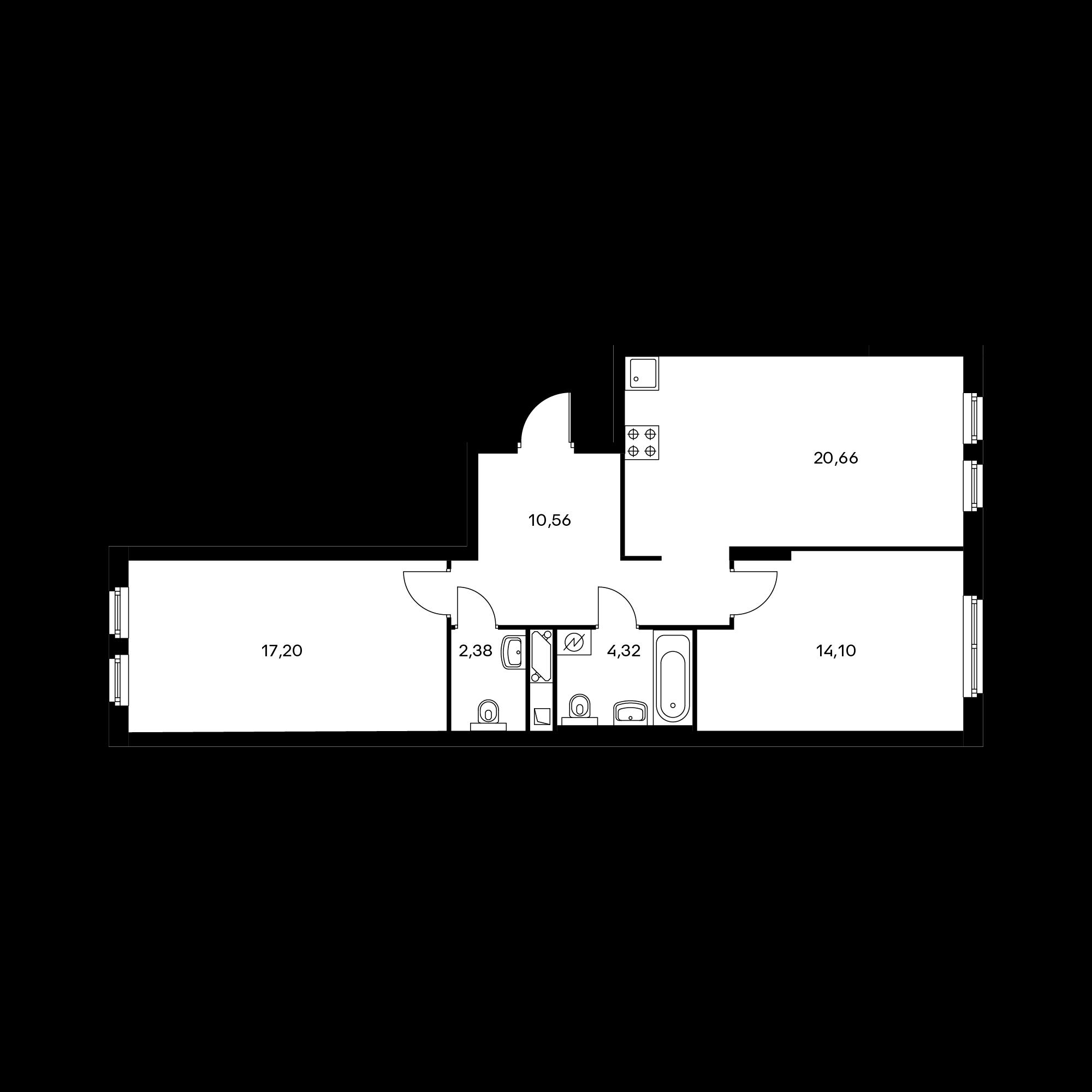 2-комнатная 69.22  м²