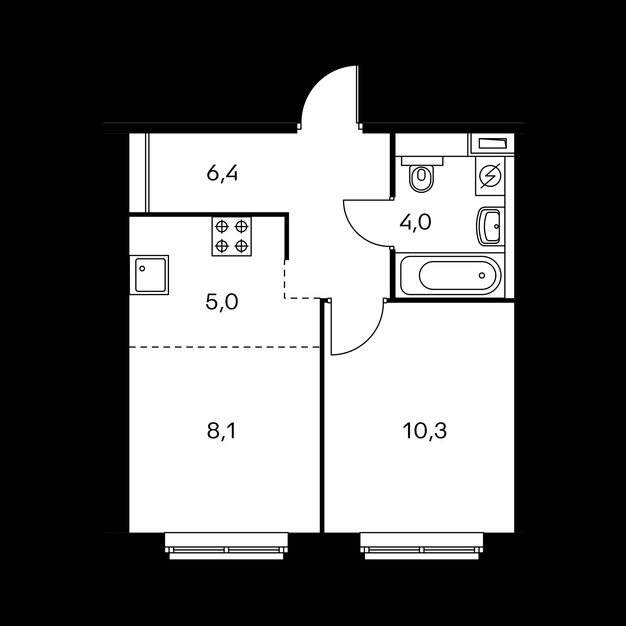 2-комнатная 33.8 м²