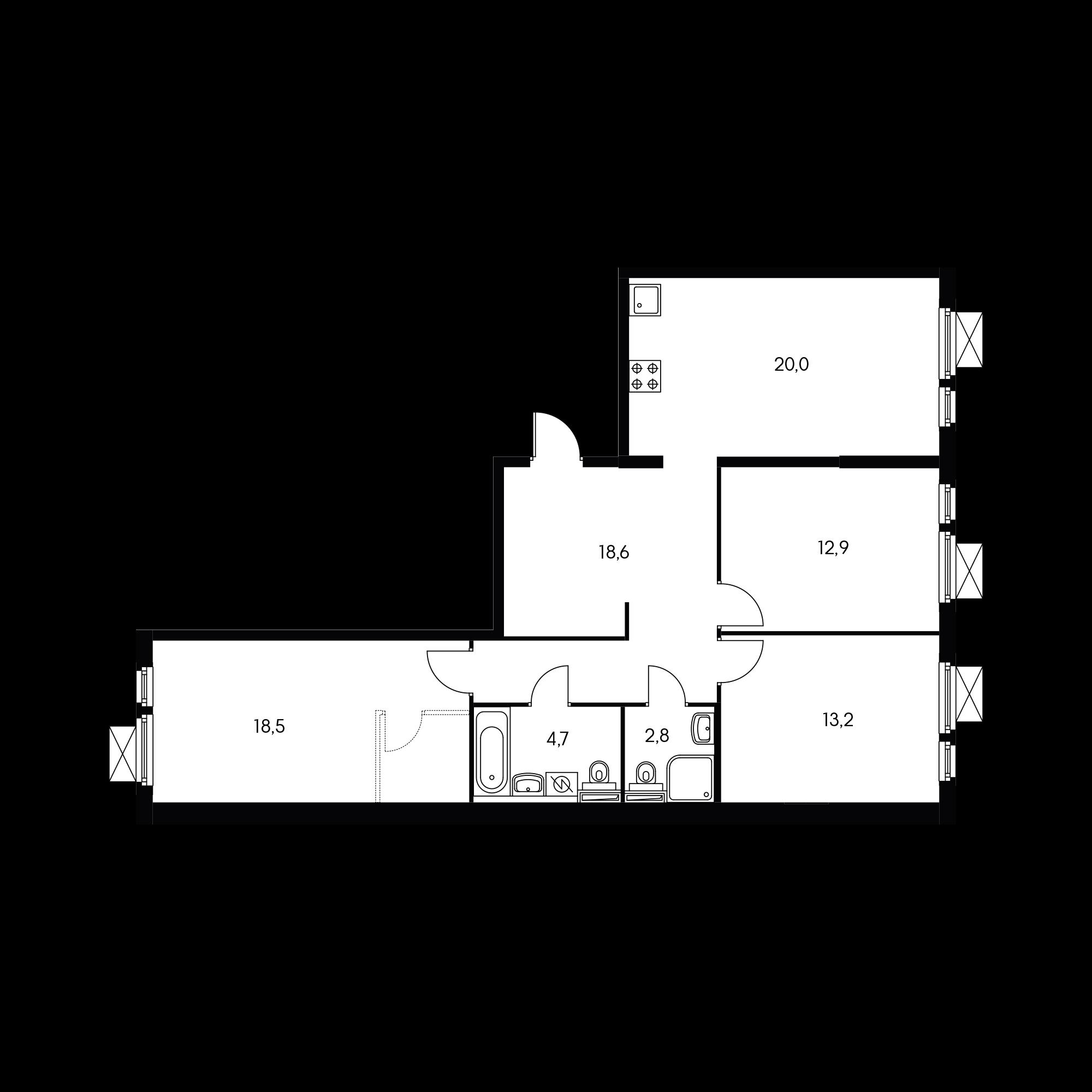 3-комнатная 89.1 м²