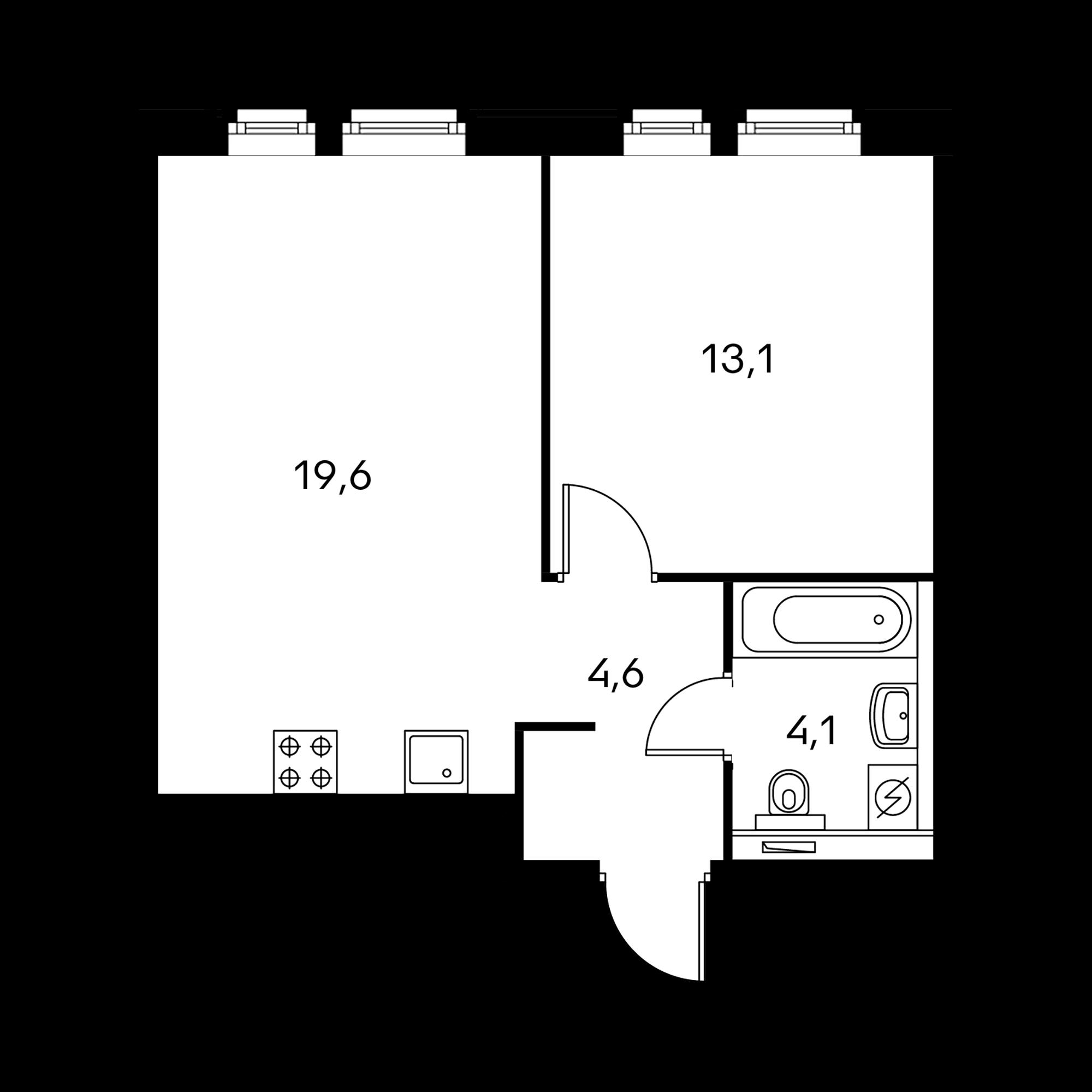 1-комнатная 41.4 м²