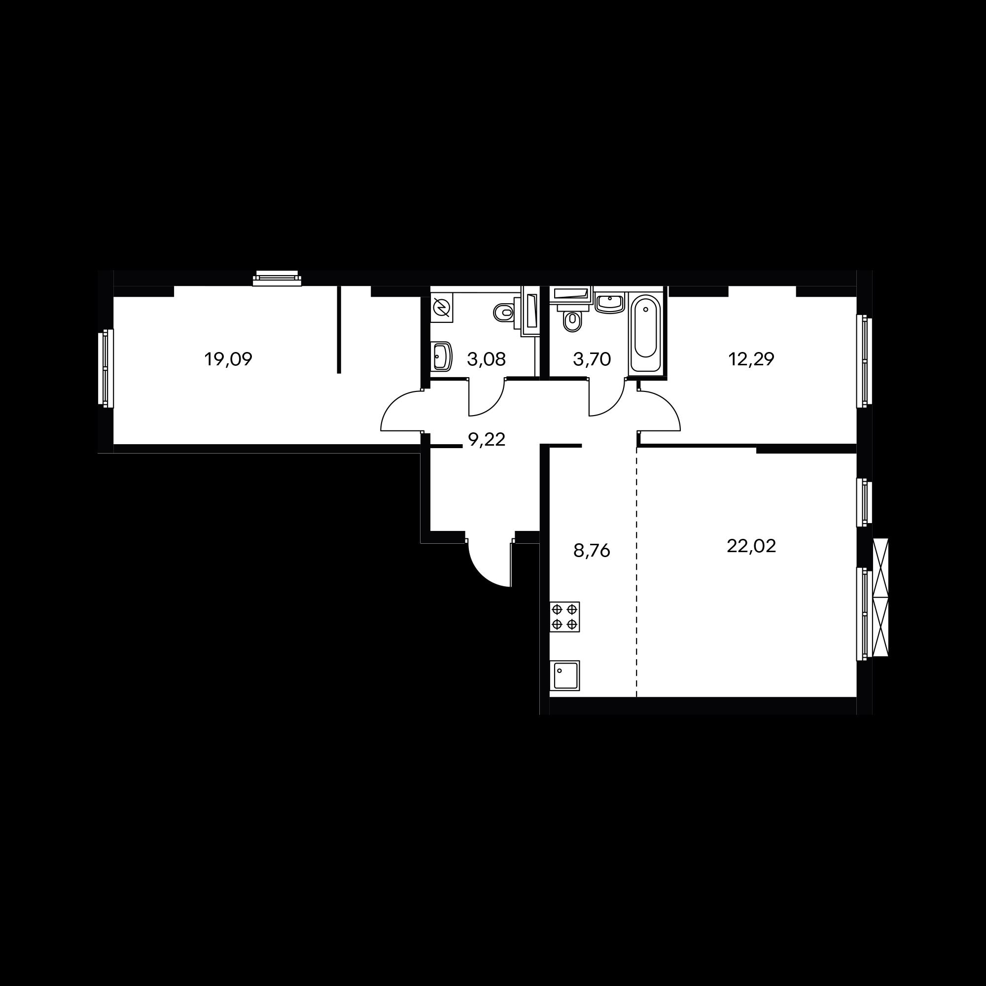 3-комнатная 78.16 м²