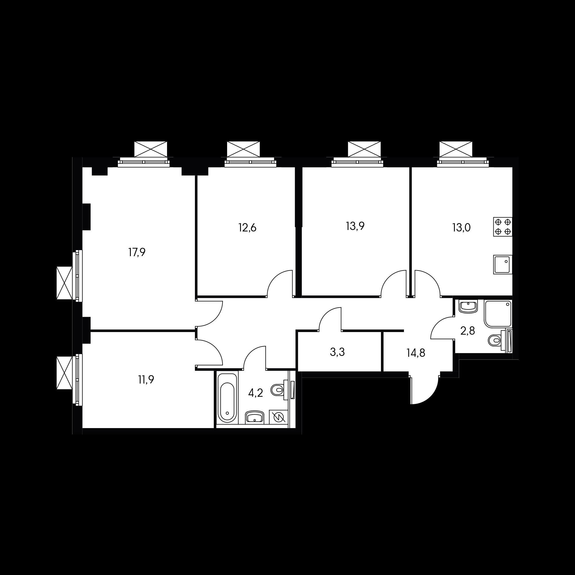 4-комнатная 93.7 м²