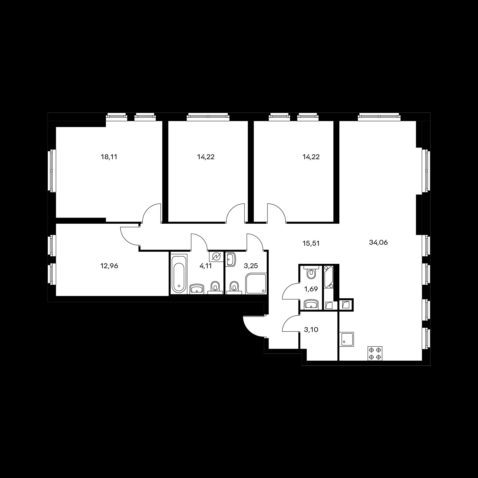 4-комнатная 121.23 м²