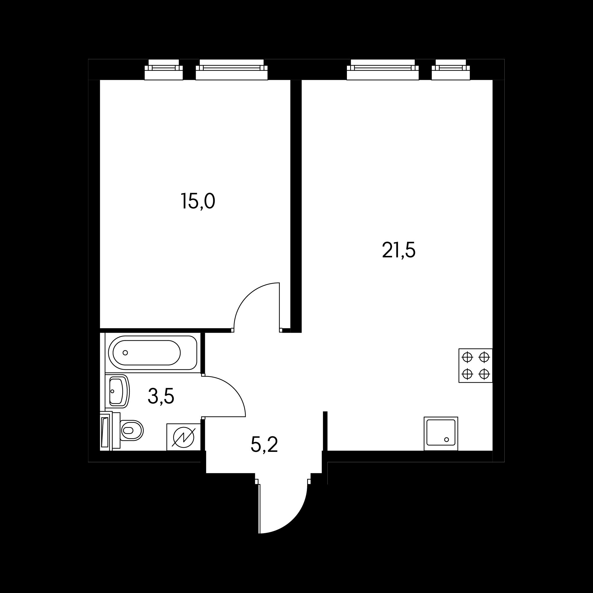 1-комнатная 45.5 м²