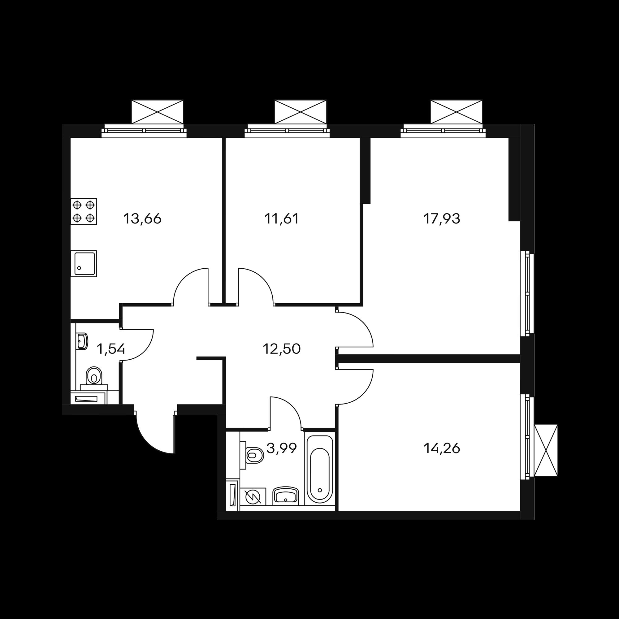 3-комнатная 75.18 м²