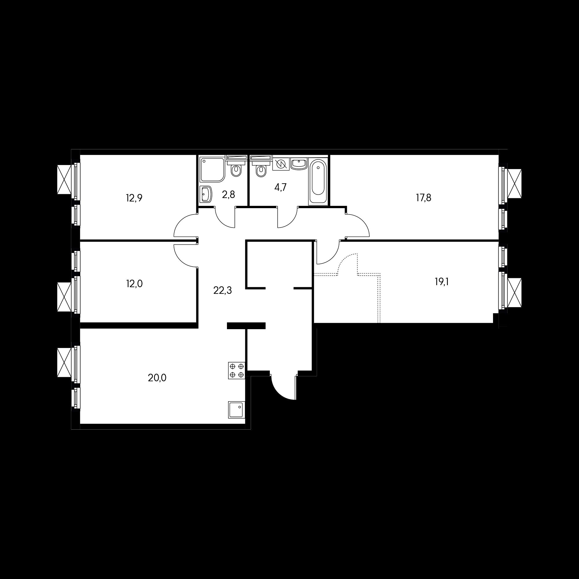 4-комнатная 109.2 м²
