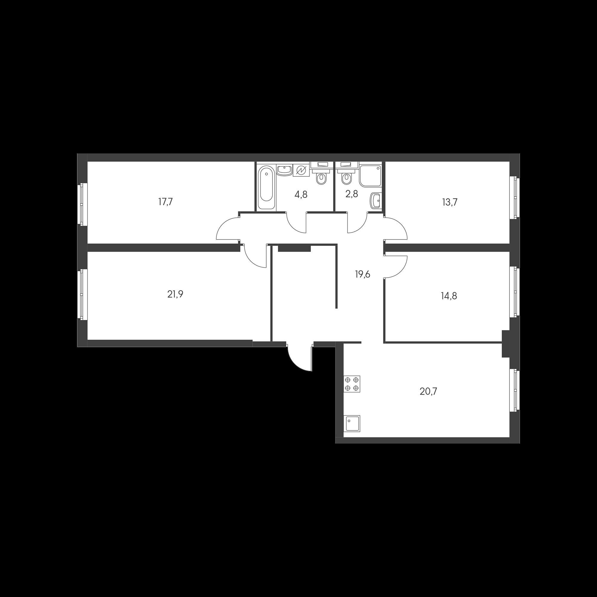 4-комнатная 116 м²