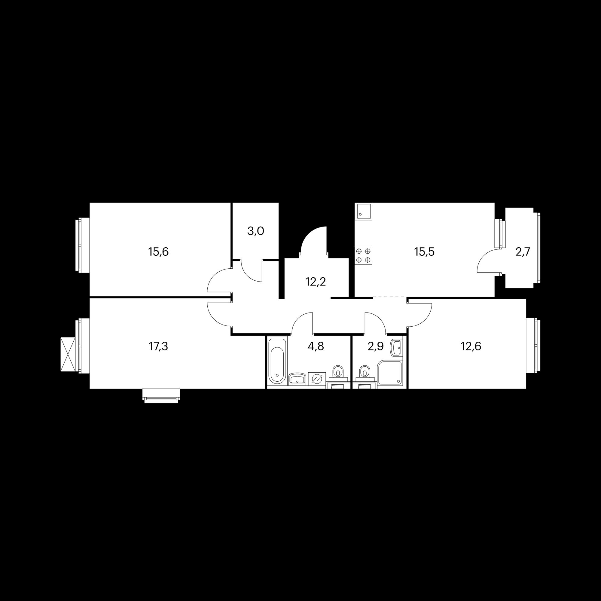 3-комнатная 85.9 м²