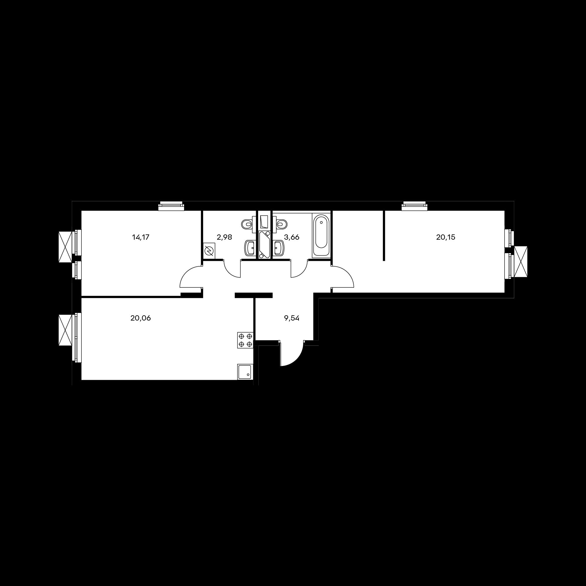 2-комнатная 69.94 м²