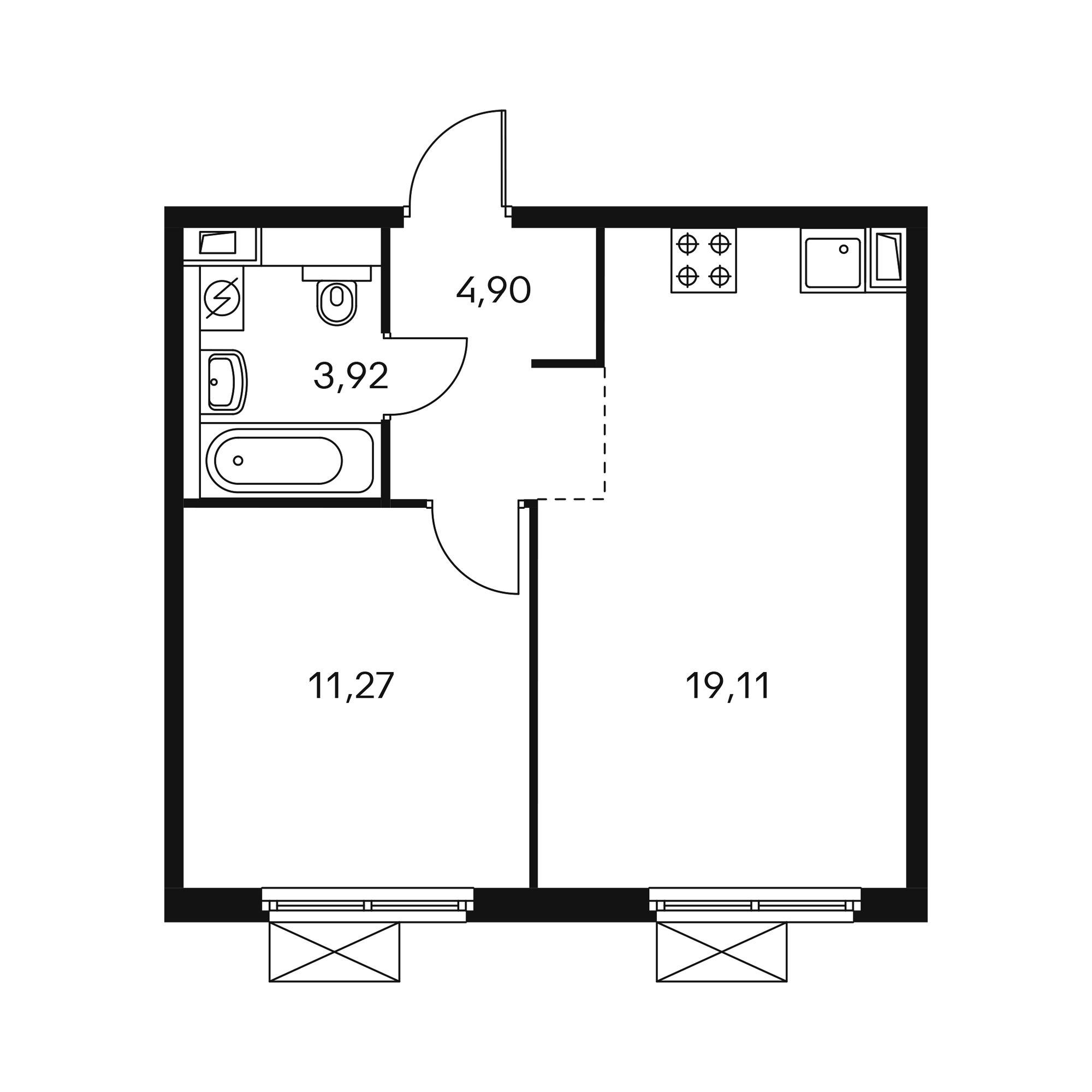 1-комнатная 39.14 м²