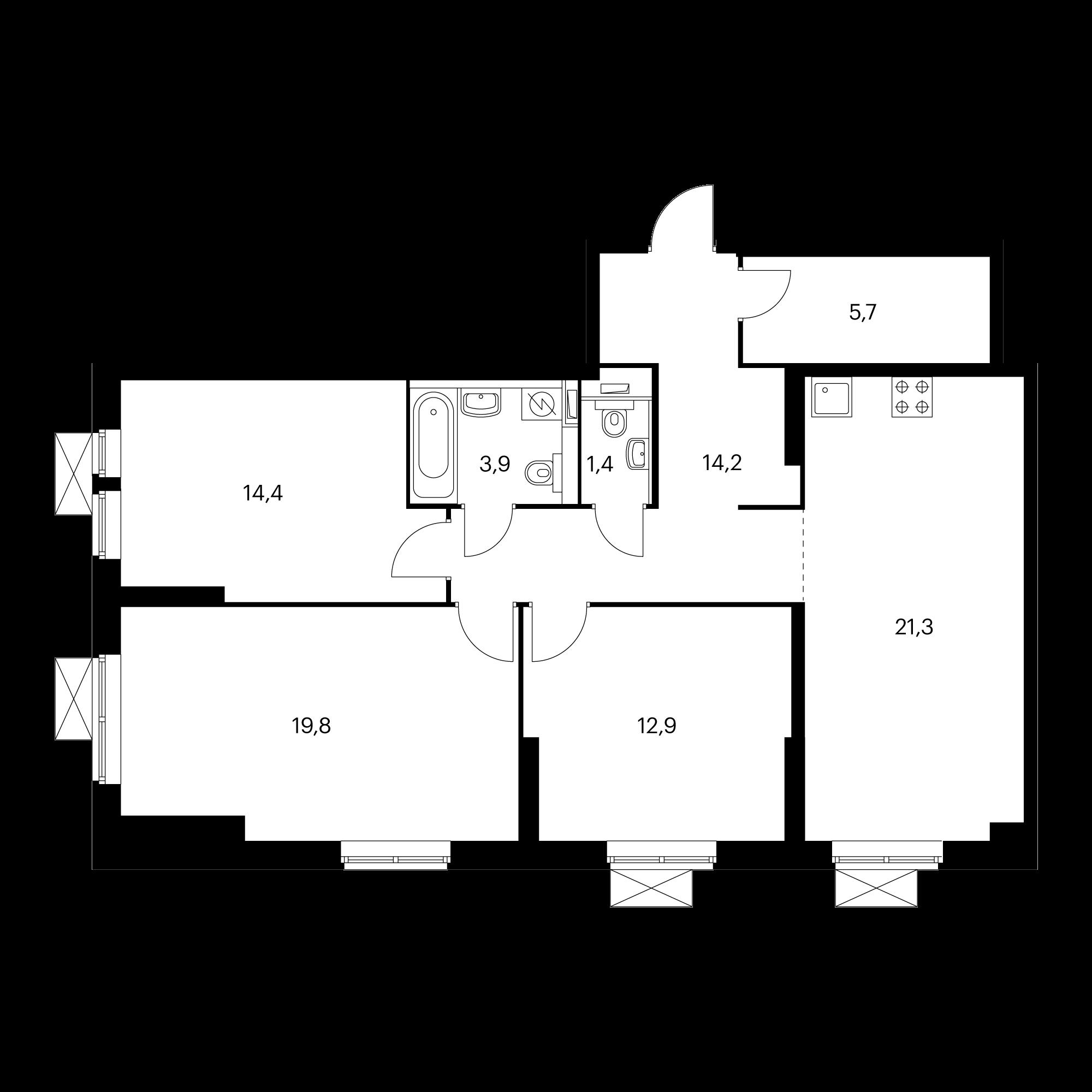 3-комнатная 93.6  м²