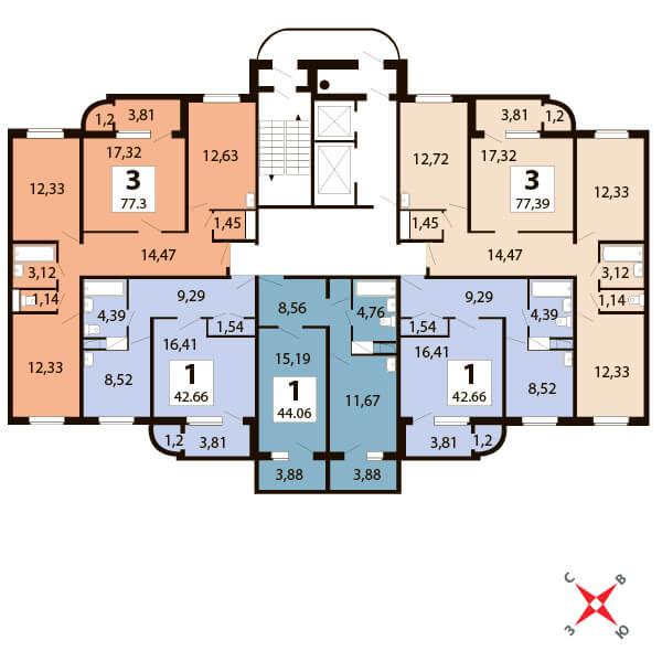 3-комнатная 77  м²