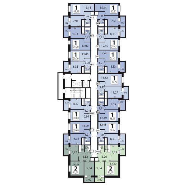 1-комнатная 28.2  м²
