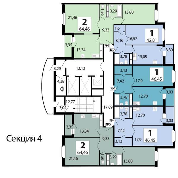 1-комнатная 46.4  м²