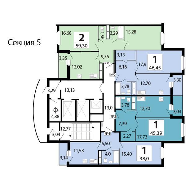 1-комнатная 46.2  м²