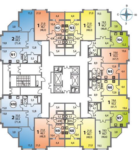 1-комнатная 48.4  м²
