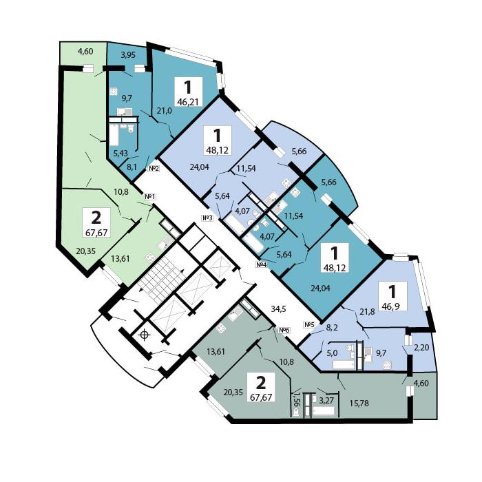 1-комнатная 46.9  м²